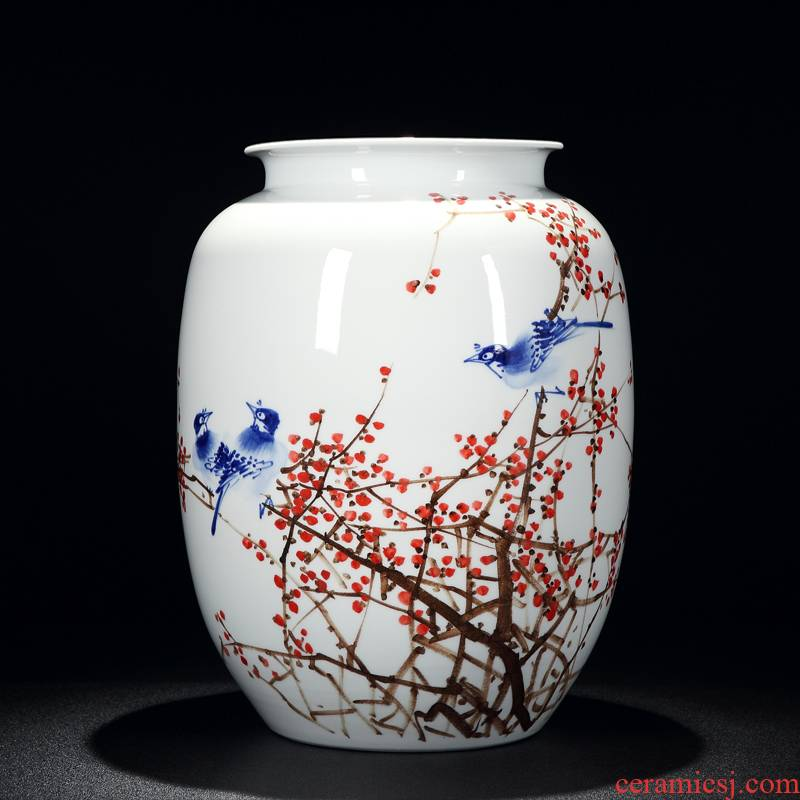 Jingdezhen craftsmen shot loose guo - hua liu qin works hand - made antique porcelain dou color flower vase
