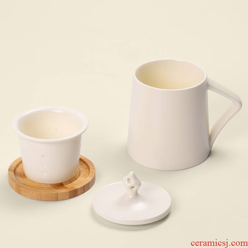 RenXin office mark cup with cover tea cup men 's and women' s custom glass ceramic couples filtering cup home