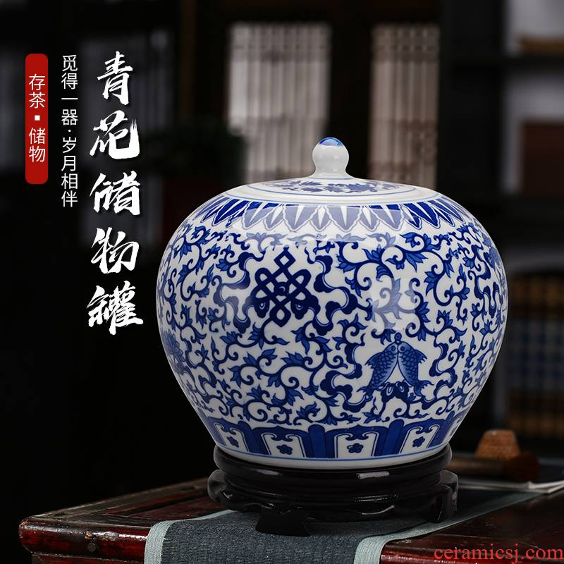 Jingdezhen ceramic modern blue and white porcelain vase caddy fixings storage tank crafts home living room set