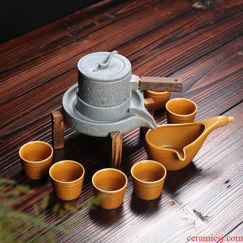 Lazy people automatically make tea of the six kung fu tea set ceramic creative archaize stone mill household contracted office