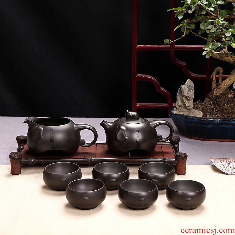 Dark purple move kung fu tea tea sets six cups of household teapot retro office contracted 6 pack