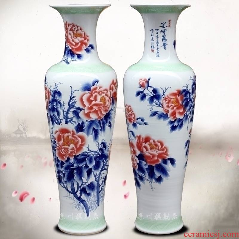 Jingdezhen ceramic hand - made blooming flowers peony vase of large living room a study flower arranging office furnishing articles