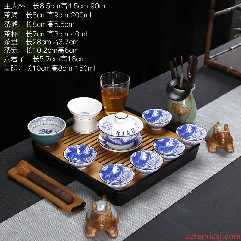 White porcelain tea sets tea cup set teapot ceramic household kung fu tea tea GaiWanCha suet jade sea