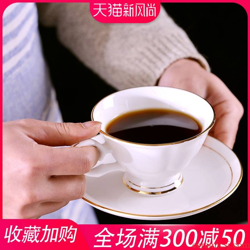 Creative manual gold 】 【 ceramic cups of coffee milk cup small European - style key-2 luxury ipads China coffee cups and saucers suit