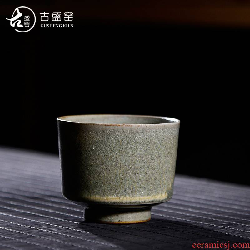 Ancient sheng up new hand - made to burn all hand celadon single CPU slicing can keep sample tea cup hand master cup orphan works