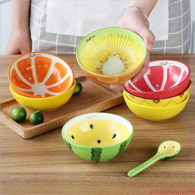 "5 ""watermelon creative hand - made bowls bowl bowl ceramic express children eat rice bowls of fruit desserts"