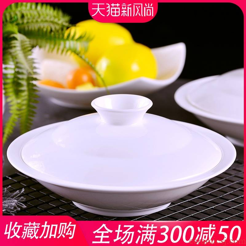 Jingdezhen porcelain ipads son home hotel creative combination of Chinese ceramic dish dribbling lid plate 8 inch combiner