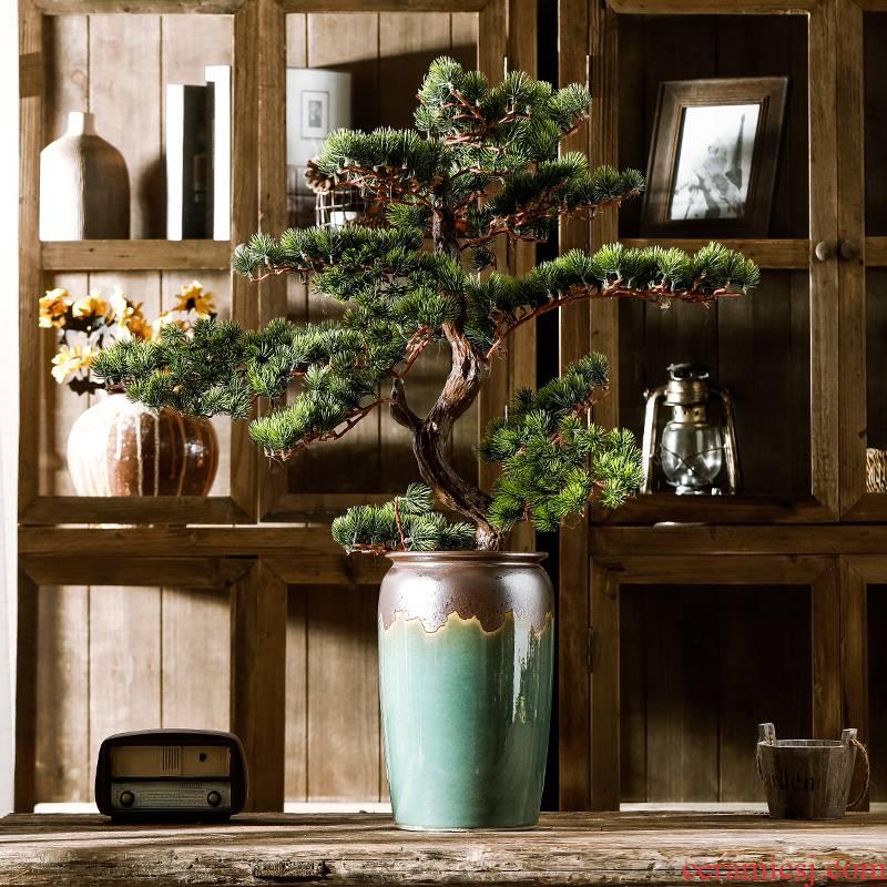 Jingdezhen mesa simulation flower vase of large diameter guest - the greeting pine dry flower manual flow glaze to restore ancient ways do old vase