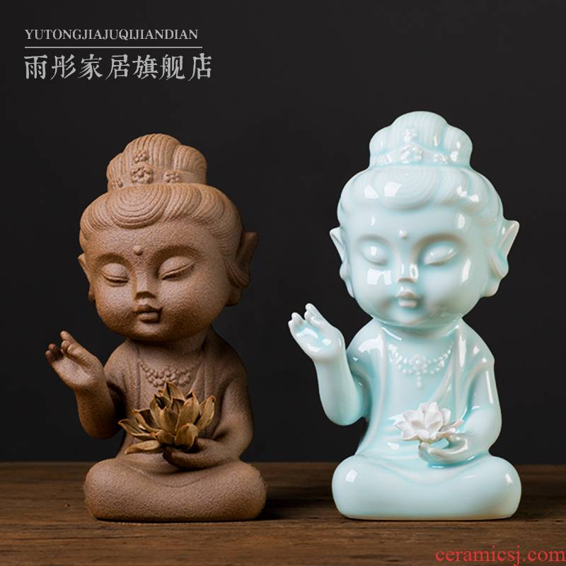 Celadon ceramic zen guanyin Buddha zen furnishing articles with lotus boutique, lovely Buddha zen study home furnishing articles