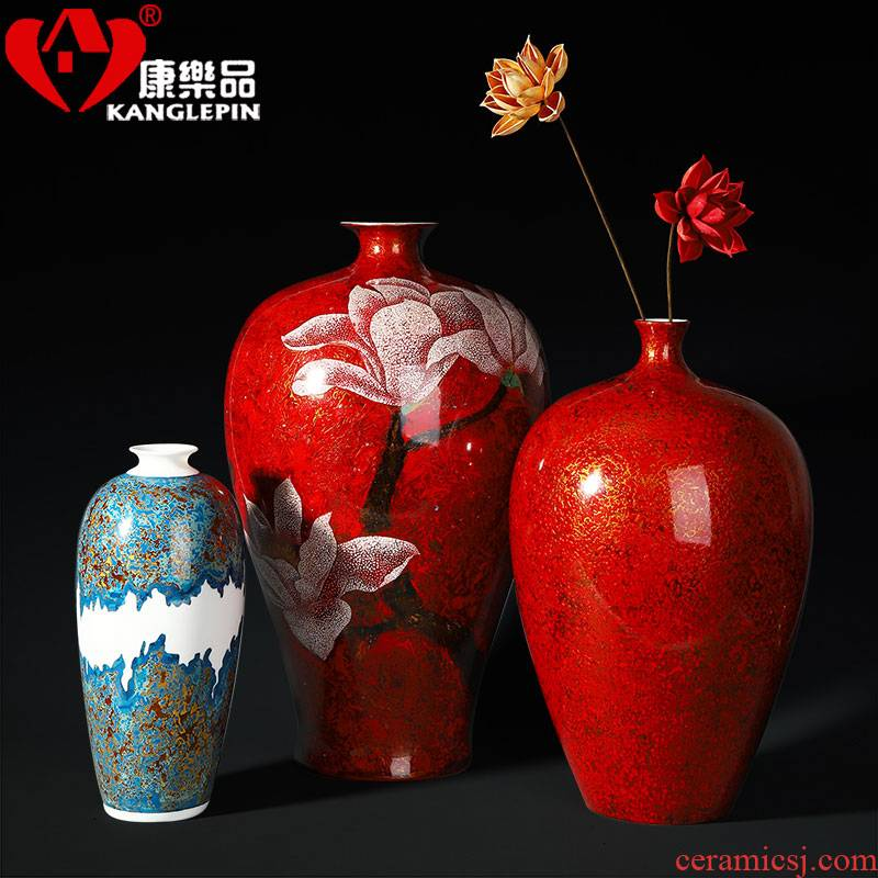 Recreational product sitting room ground ceramic vase office furnishing articles lacquer Chinese big flower, flower arranging household act the role ofing is tasted