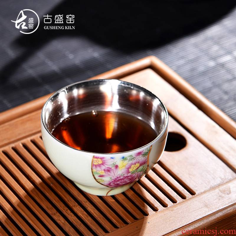 Ancient shing new up celadon porcelain silver colored enamel tea tasted silver gilding sample tea cup bowl master cup single CPU