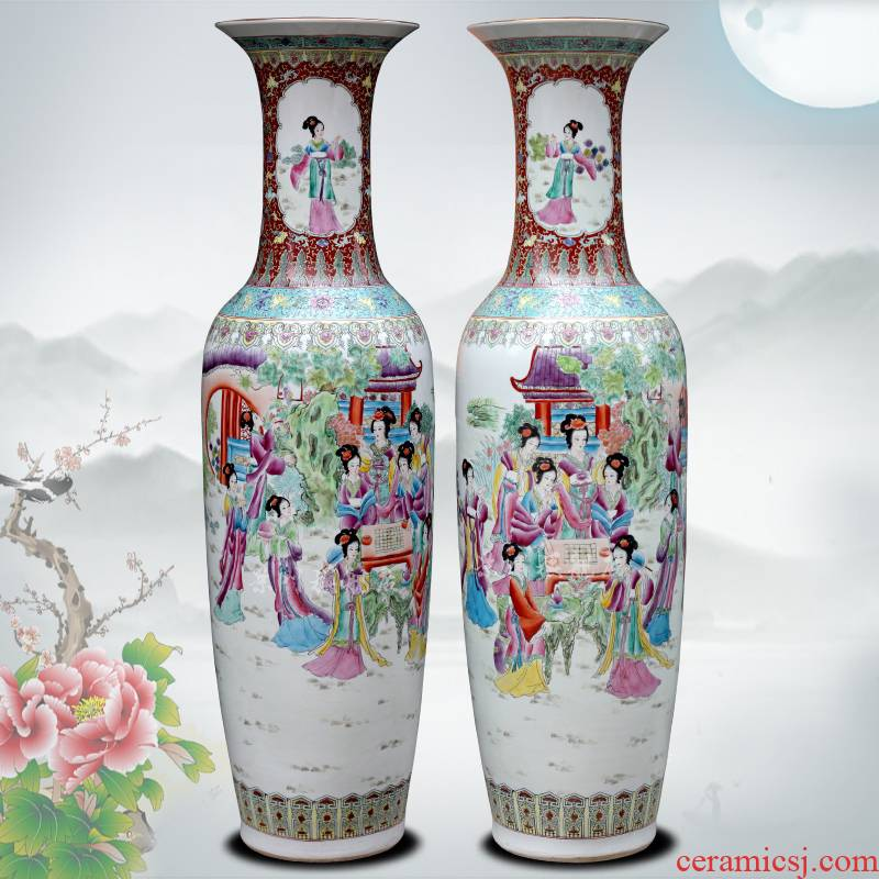Jingdezhen ceramic hand - made pastel had large vases, home sitting room hotel Chinese flower arranging furnishing articles