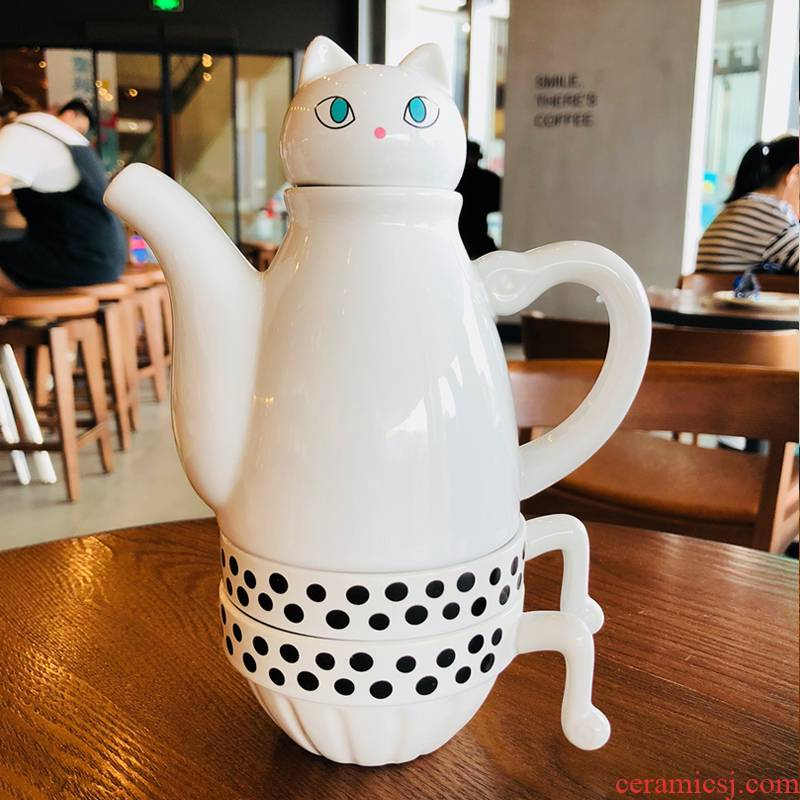 Japanese creative contracted lovely tea sets ins of ceramic teapot cat cafes tea cup household jugs