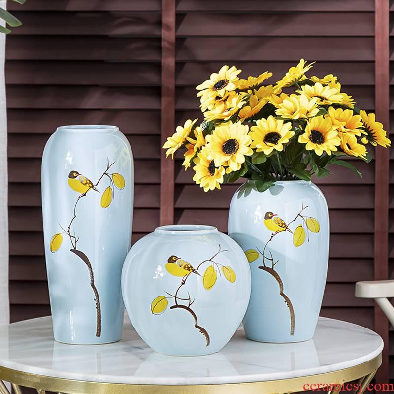 Jingdezhen ceramic vases, dried flower adornment furnishing articles floret bottle table sitting room light key-2 luxury water raise flower arrangement China web celebrity