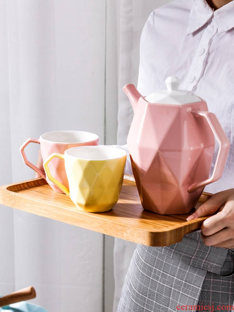 A content Nordic creative ceramic cold boiled water kettle large cold suits for domestic large capacity heat - resisting teapot kettle