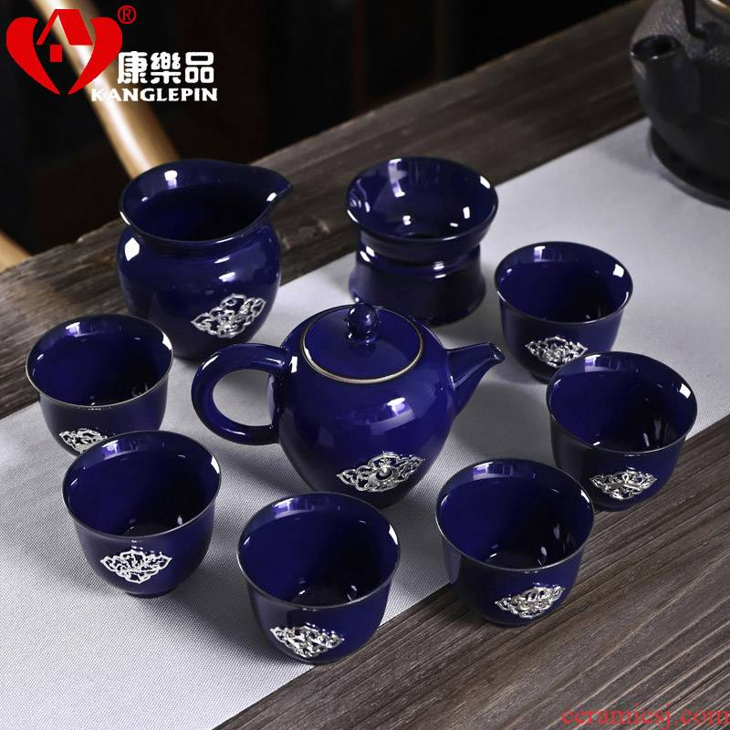 Recreational product ceramic tea sets business household gifts small sets of silver decoration teapot a complete set of kung fu tea set