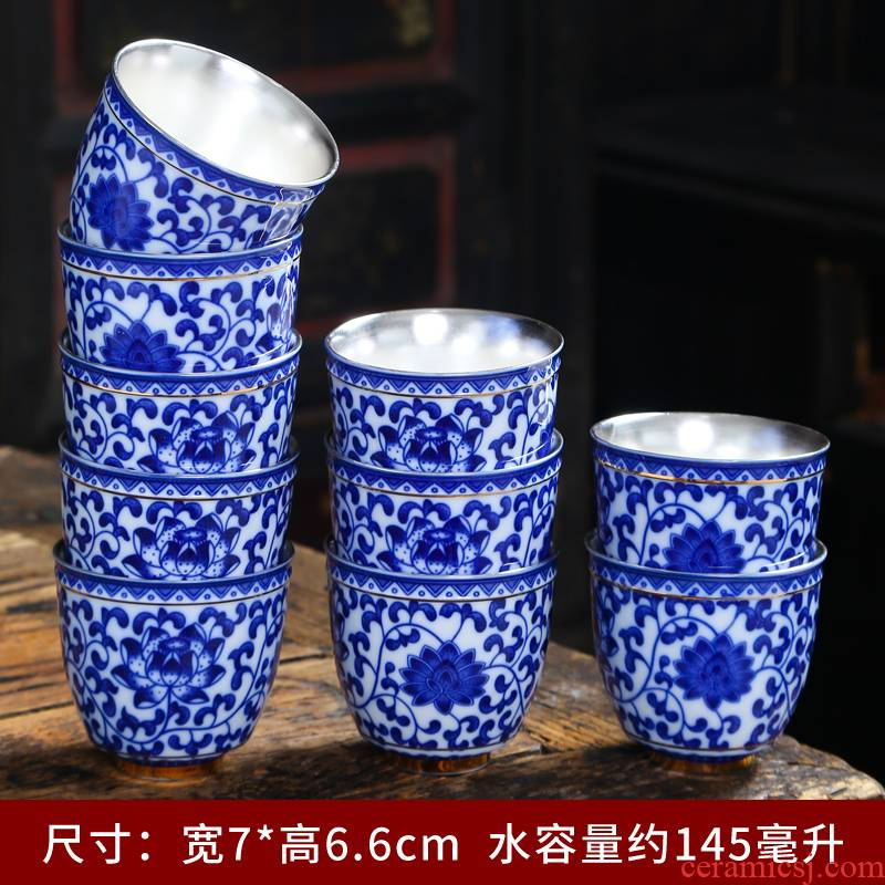 Tasted silver gilding olay manual master cup single CPU personal cup large hand - made porcelain kung fu tea bowl ceramic tea set