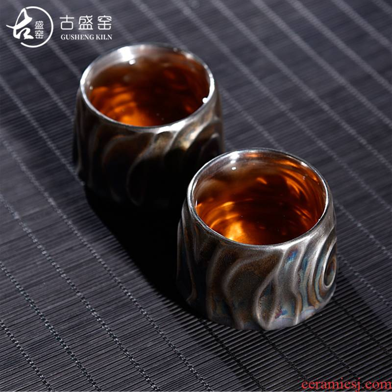 The ancient sheng up with pure manual coppering. As The master cup silver cup 999 sterling silver personal ceramic cups tea sample tea cup, restoring ancient ways
