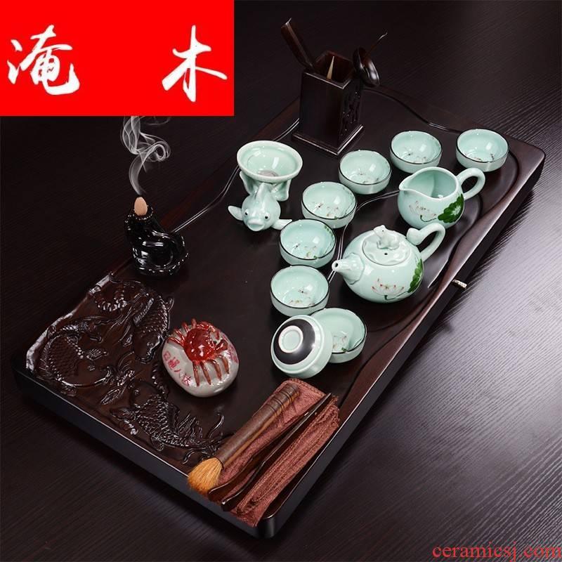Flooded three fish swimming ebony wood tea tray hand draw your up ceramic kung fu tea set can be automatically