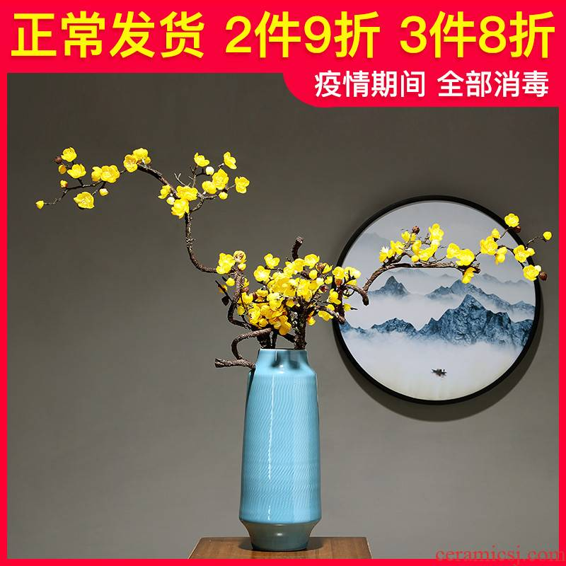 Chinese pottery and porcelain vase sitting room I and contracted household table flower arranging flower implement furnishing articles study mesa dry flower decoration