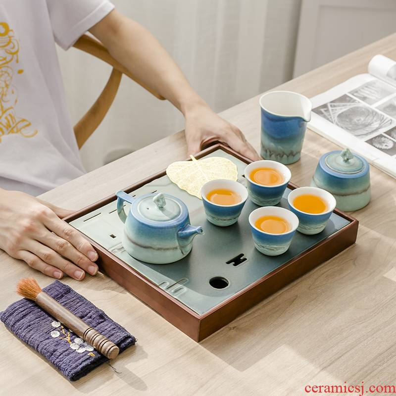 The Poly real scene tea set a small set of Japanese household contracted and I sitting room office ceramic teacup GaiWanCha kung fu