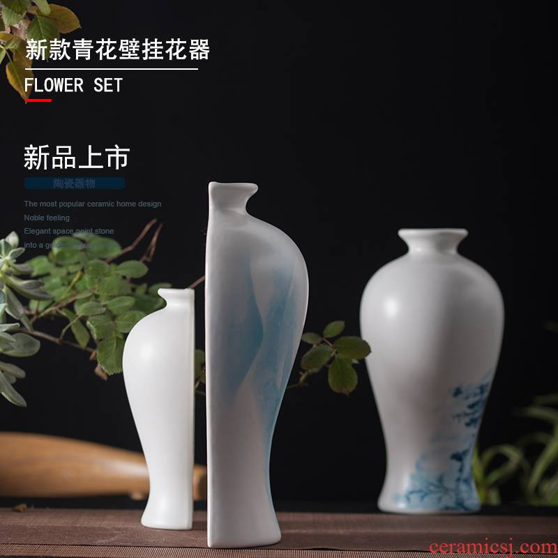 Jingdezhen ceramic wall hanging vases, hand - made porcelain corner to decorate the sitting room the bedroom metope study flower arranging, furnishing articles