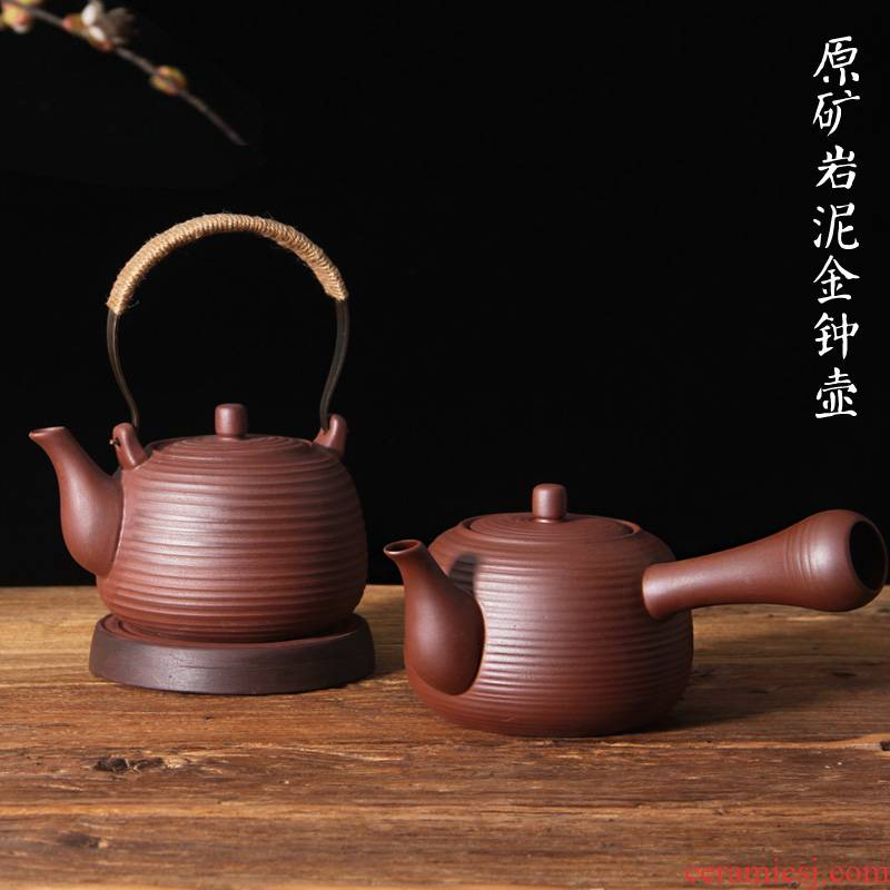 Undressed ore rock, mud boil boil pot of charcoal stove tea stove teapot pure manual side electric kettle TaoLu iron mud clay POTS