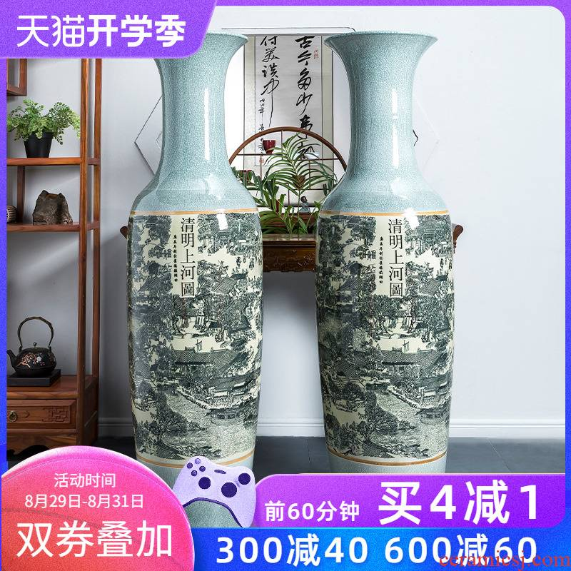 Jingdezhen ceramic archaize crack qingming scroll bigger vase furnishing articles to heavy large sitting room ground decoration
