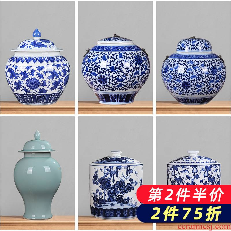 Jingdezhen porcelain ceramic general tank storage tank of blue and white porcelain porcelain jar with cover caddy fixings household adornment furnishing articles