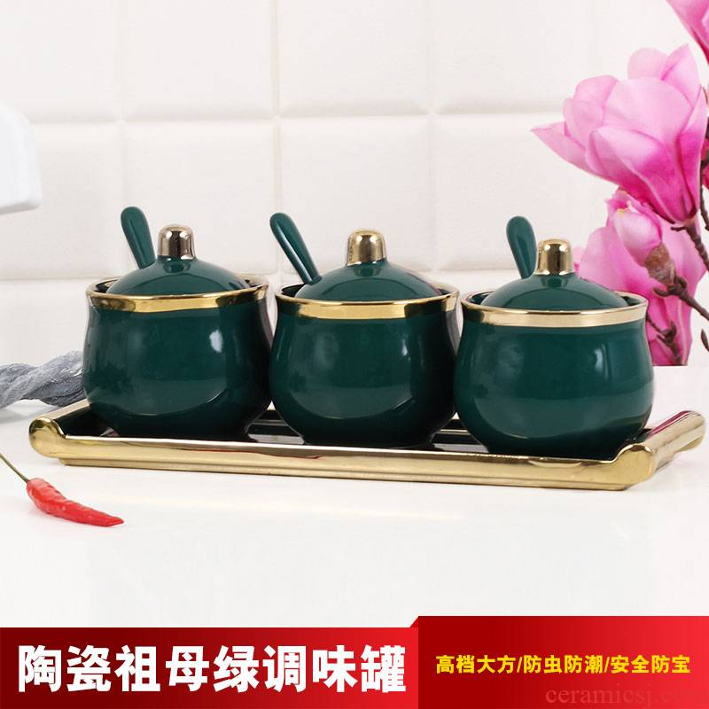 Emerald flavor pot three - piece combination with ceramic jar with cover household kitchen single run condiment jar