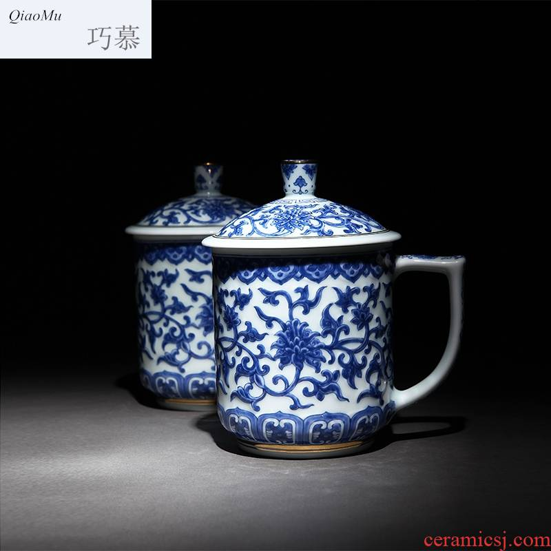 Qiao mu jingdezhen ceramic cup manual paint cup of carve patterns or designs on woodwork carved hankage office cup of green tea cup with cover