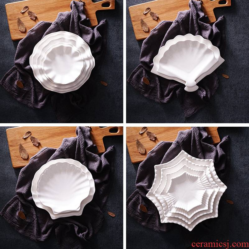 View the best package mail pure white ceramic plate of creative household dish dish dish beefsteak plates tableware dessert fruit bowl