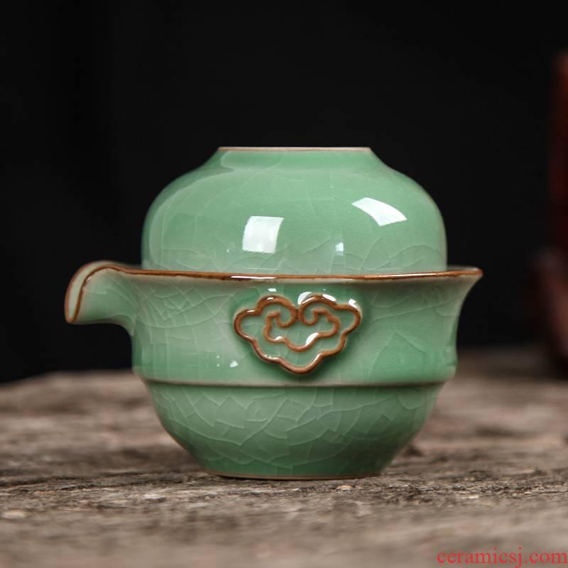 Get together scene scene celadon crack cup combo kung fu tea set a pot of a ceramic teapot ice crack travel tea set