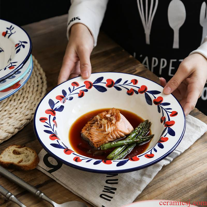 Pasta with deep straw plate of the Nordic ins European web celebrity creative household ceramics tableware deep dish bowl plate