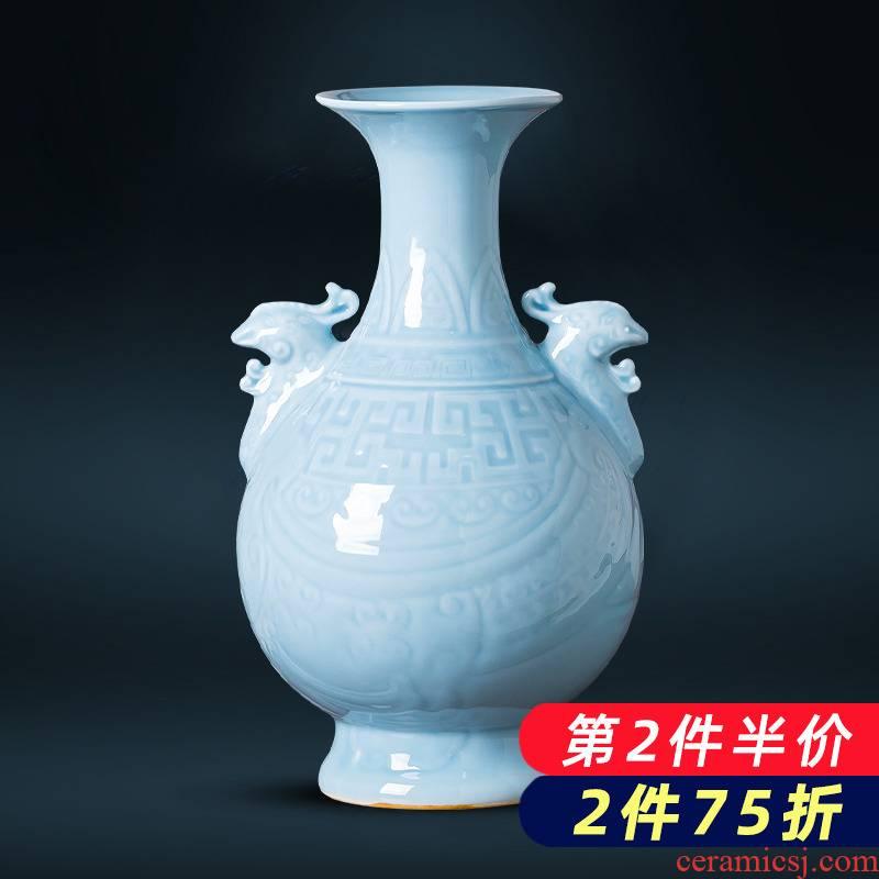 Jingdezhen porcelain ceramic azure glaze antique vase carved retro sitting room ark, decoration of Chinese style household furnishing articles