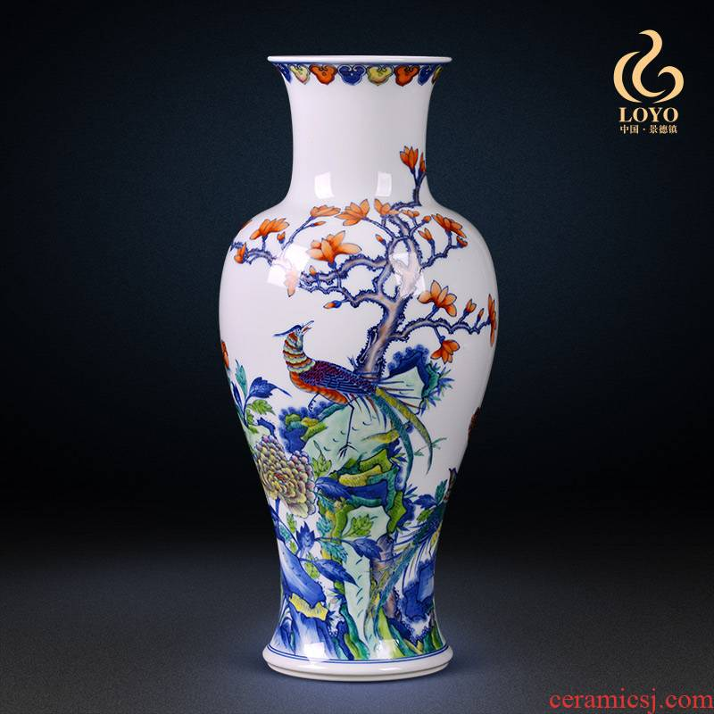 Jingdezhen ceramic vase famous blue and white color bucket hand - made the icing on the cake goddess of mercy bottle sitting room porch place a gift