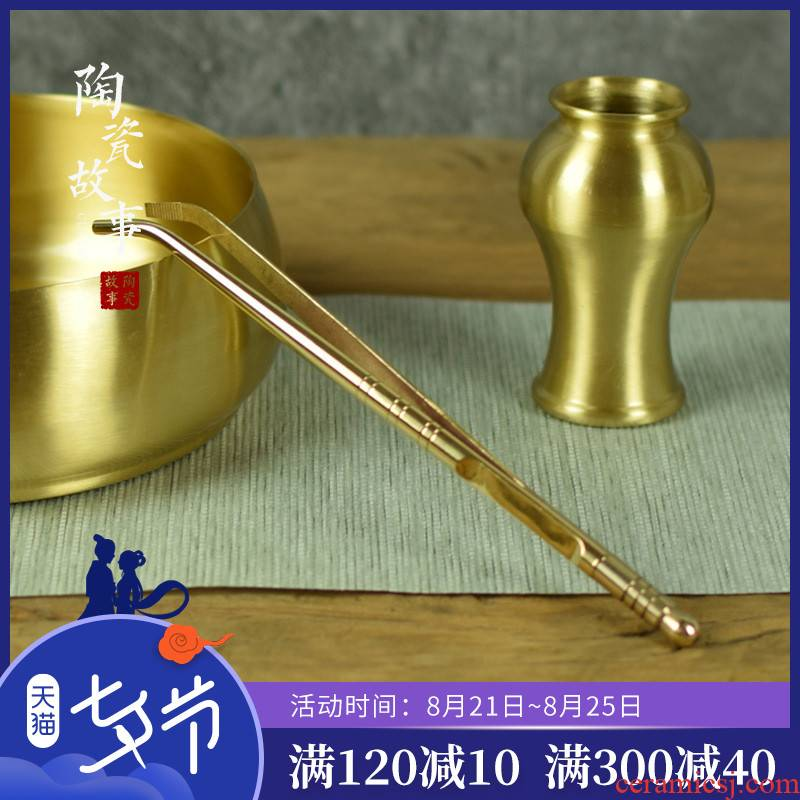 Pure copper and ceramics story ChaGa ChaZhen more pu 'er tea fittings slippery prevent hot cup holder 6 gentleman