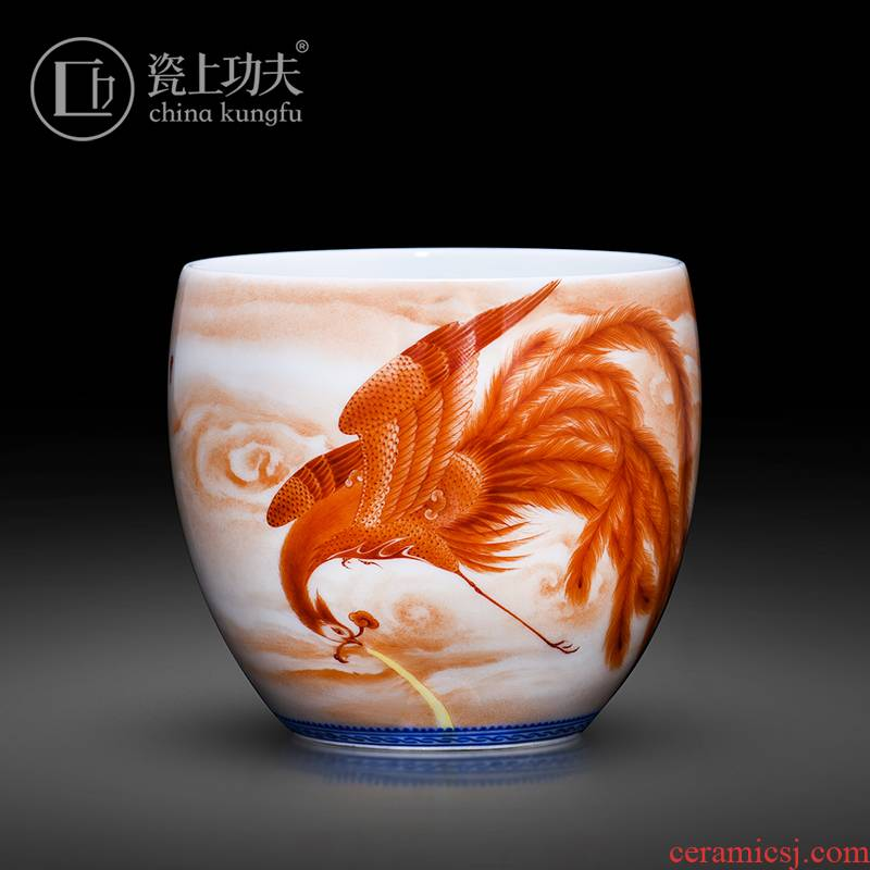 Jingdezhen ceramic kung fu teacups hand - made alum red master cup full manual single cup sample tea cup to collect gifts tea sets