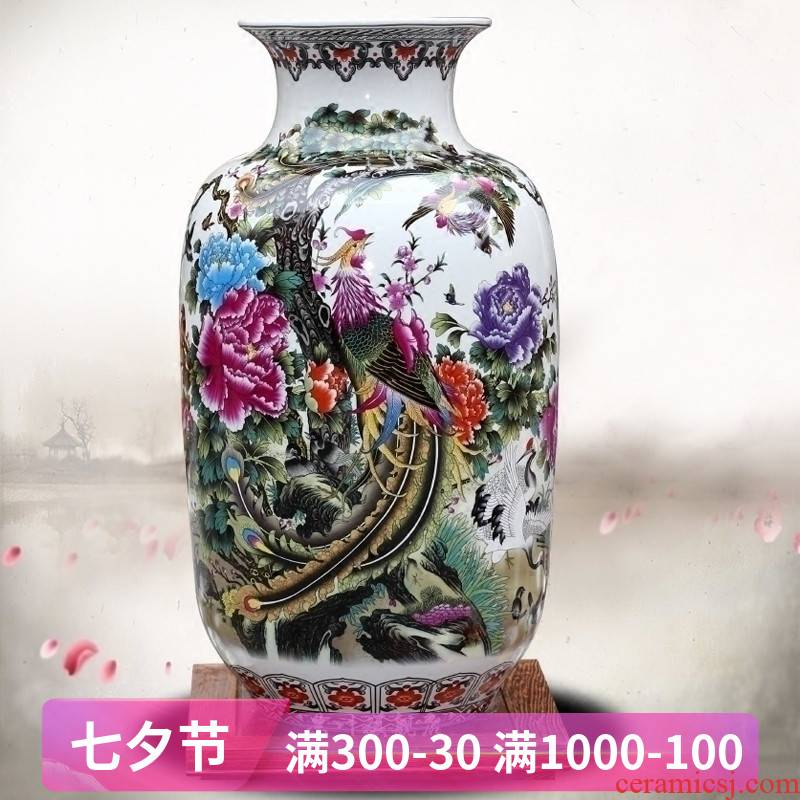 Jingdezhen ceramic birds pay homage to the king figure dry flower vase home sitting room study office mesa place adorn article