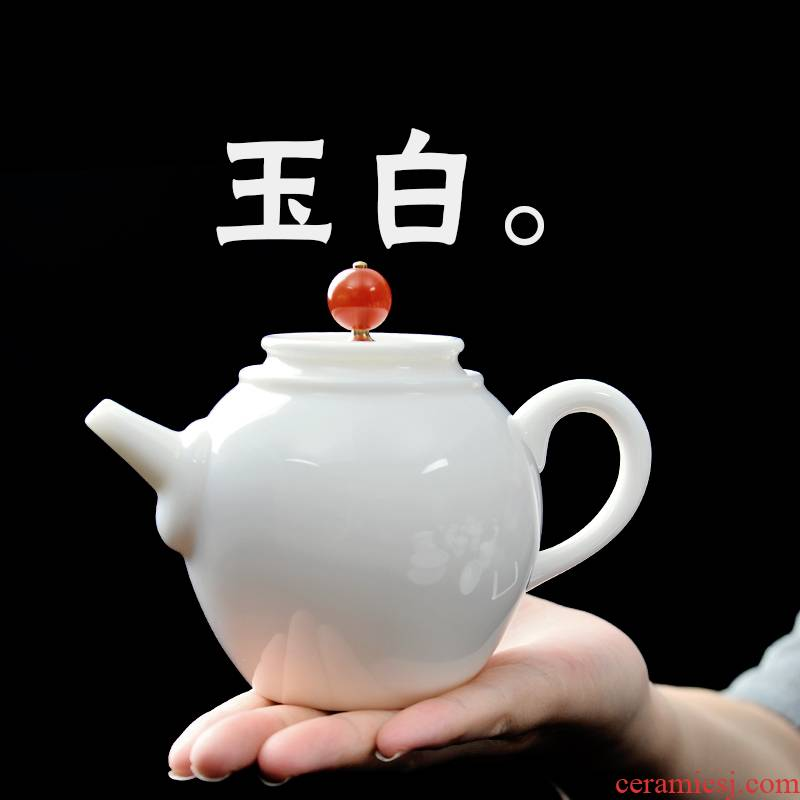 Public remit suet jade small white porcelain teapot meng single pot pot of ceramic kung fu tea set ideas of filter tea