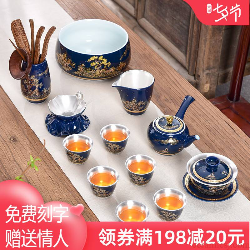 Jingdezhen high - grade enamel silver tea set 999 sterling silver suit household kung fu tea set office to receive a visitor the teapot