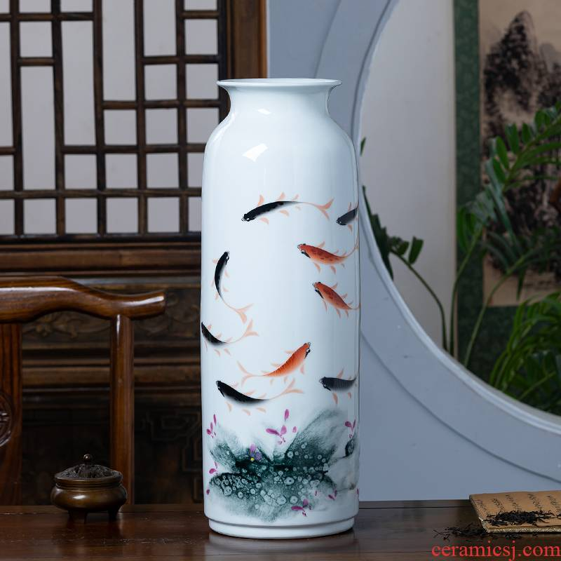 Jingdezhen porcelain ceramic hand - made enamel vase flower arranging new Chinese style household furnishing articles rich ancient frame sitting room adornment