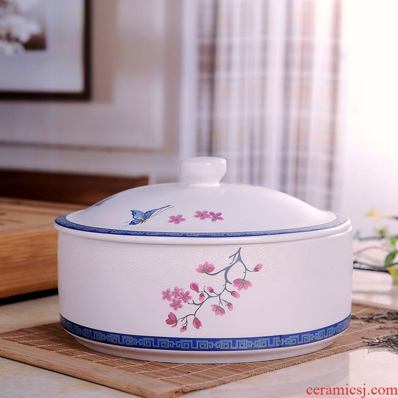 Shadow enjoy ceramic tea pot home with cover round large seal puer tea box of seven cakes tea urn storage POTS