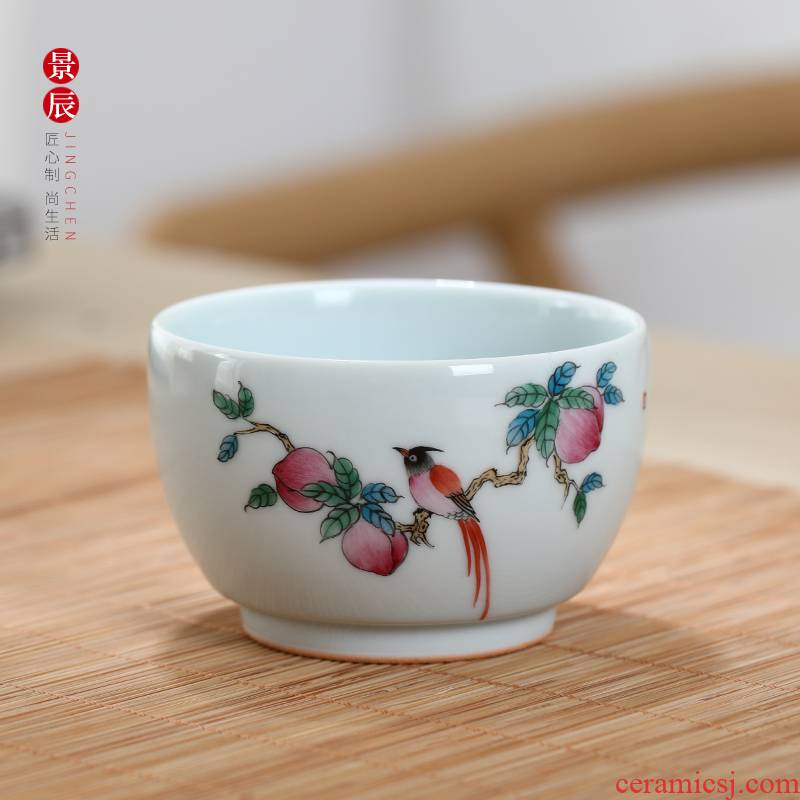Jingdezhen ceramic powder enamel creative hand - made of pu 'er tea cups household glass and single cup cup kung fu