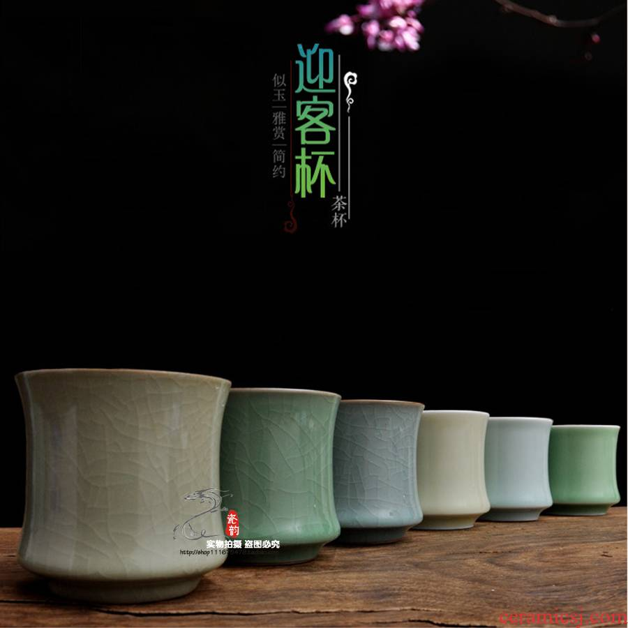 Porcelain rhyme together scene celadon cups to welcome the personal single CPU contracted ceramic crack cup kung fu tea tea cups
