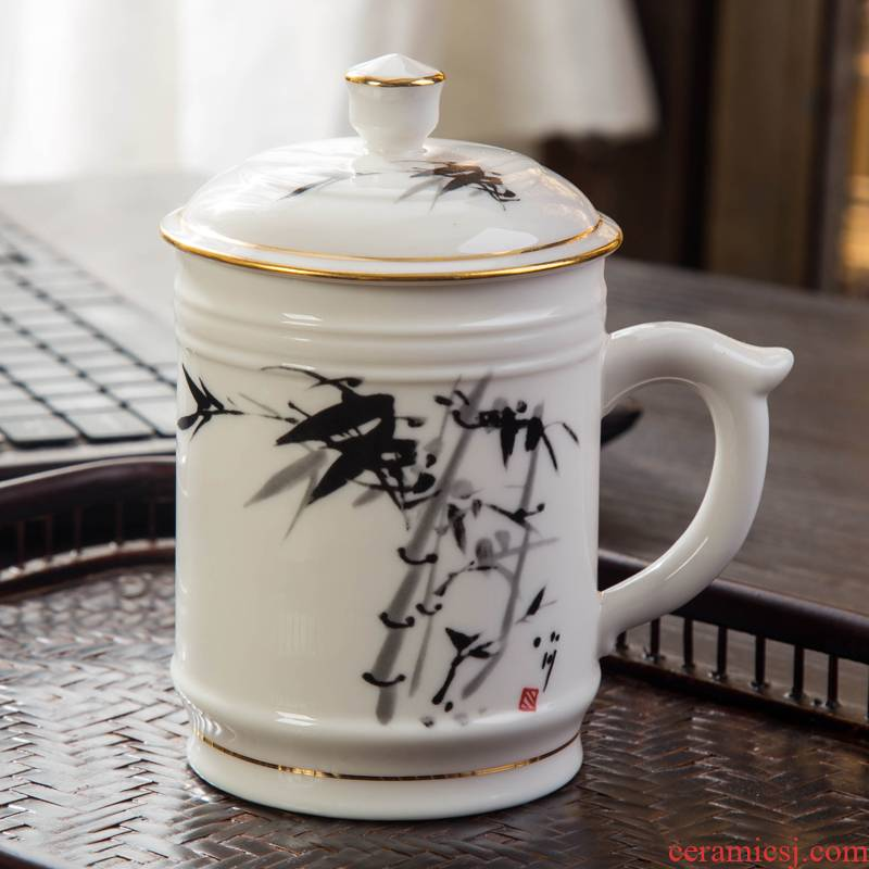 Jingdezhen ceramic office cup with cover cup meeting gift porcelain cup suit custom big bag mail tea cup