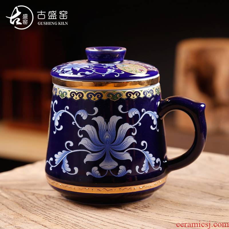 Ancient sheng up enamel see colour office glass ceramic cup three personal office tea cups with cover filter of jingdezhen