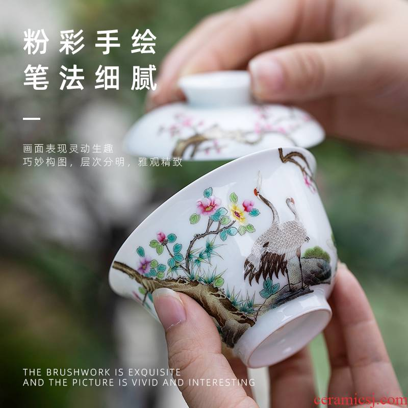 2 just tureen jingdezhen pure manual painting without heming tureen ceramics single tureen kung fu tea cups
