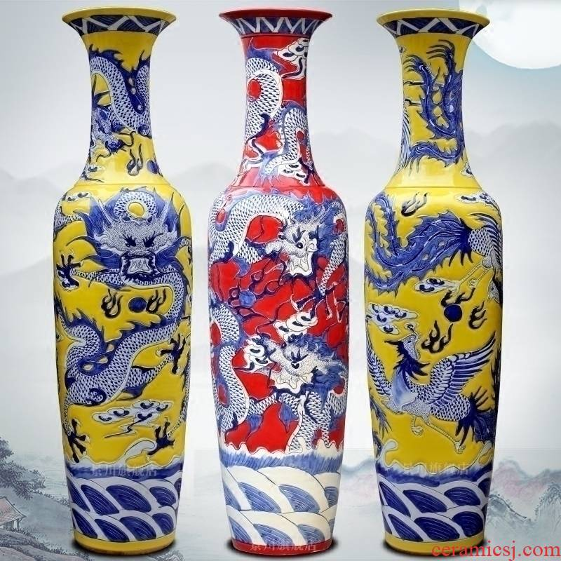 Jingdezhen ceramics dragon in huanglong day hand carved sitting room of large vase opening gifts furnishing articles