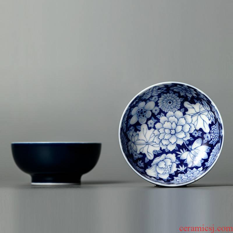 Jingdezhen ceramic tea set hand - made porcelain masters cup pure manual sample tea cup single CPU ji blue flower is kung fu tea cups